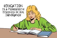 Muchacha con el libro Colegiala en la sala de clase Estudiante en una conferencia ilustración del vector