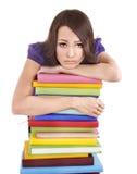 Muchacha con el libro del color de la pila. Imágenes de archivo libres de regalías