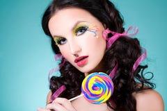 Muchacha con el lollipop Fotografía de archivo
