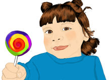 Muchacha con el lollypop Ilustración del Vector