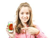 Muchacha con el móvil. Foto de archivo libre de regalías