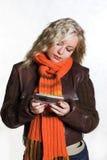 Muchacha con el móvil Imágenes de archivo libres de regalías