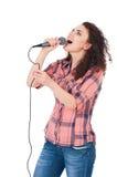 Muchacha con el micrófono Fotos de archivo