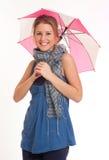Muchacha con el mini paraguas Imagen de archivo libre de regalías