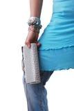 Muchacha con el monedero Foto de archivo