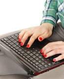 Muchacha con el netbook Imagen de archivo libre de regalías