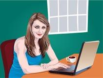 Muchacha con el ordenador portátil Imagen de archivo libre de regalías