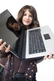 Muchacha con el ordenador superior de regazo Fotos de archivo