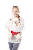 Muchacha con el oso de peluche Imagen de archivo libre de regalías