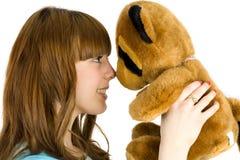 Muchacha con el oso de peluche Fotografía de archivo