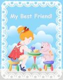 Muchacha con el oso de peluche, fiesta del té, amigos Foto de archivo