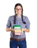 Muchacha con el palillo de libros Fotos de archivo libres de regalías
