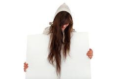 Muchacha con el papel en blanco Foto de archivo