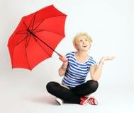 Muchacha con el paraguas Imagenes de archivo