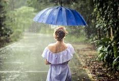 Muchacha con el paraguas debajo de la lluvia Fotografía de archivo libre de regalías