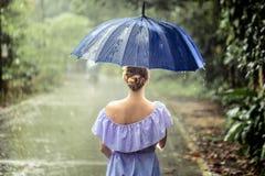 Muchacha con el paraguas debajo de la lluvia Fotos de archivo
