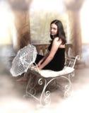 Muchacha con el paraguas del cordón Fotos de archivo