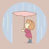 Muchacha con el paraguas que se coloca debajo de la lluvia de colada libre illustration