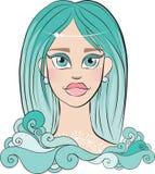 Muchacha con el pelo azul Foto de archivo libre de regalías