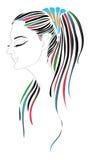 Muchacha con el pelo coloreado