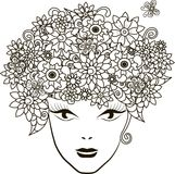Muchacha con el pelo de las flores, página que colorea antiesfuerza Fotos de archivo libres de regalías