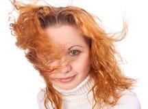 Muchacha con el pelo del vuelo Imagen de archivo
