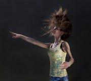 Muchacha con el pelo del vuelo Fotografía de archivo libre de regalías