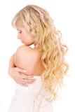 Muchacha con el pelo justo largo de la parte posterior Fotos de archivo