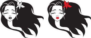 Muchacha con el pelo largo stock de ilustración