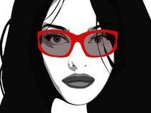muchacha con el pelo largo: Vector ilustración del vector