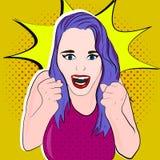 Muchacha con el pelo púrpura adentro stock de ilustración