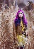 Muchacha con el pelo púrpura en una alta hierba amarilla del otoño Foto de archivo