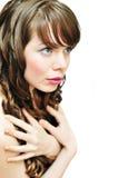 Muchacha con el pelo rizado Imagen de archivo libre de regalías
