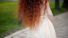 Muchacha con el pelo rizado rojo natural Una belleza natural Un poco viento riza su pelo almacen de video