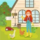 Muchacha con el pelo rojo en el jardín farming Pollo y ganso Animales agrícolas Ejemplo del vector en estilo plano Fotos de archivo libres de regalías