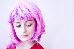 Muchacha con el pelo rosado Fotos de archivo libres de regalías