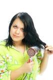 Muchacha con el pelo-secador Fotos de archivo libres de regalías