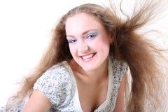 Muchacha con el pelo ventoso largo Imagenes de archivo