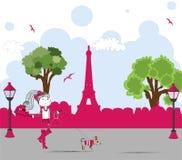 Muchacha con el pequeño perro lindo en París. vector Imagen de archivo