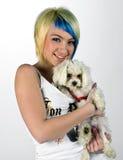 Muchacha con el perrito Fotos de archivo