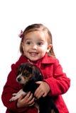 Muchacha con el perrito Fotografía de archivo libre de regalías