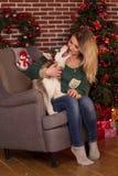 Muchacha con el perrito del perro fornido cerca del árbol de navidad Foto de archivo libre de regalías