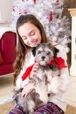 Muchacha con el perrito en la Navidad Fotos de archivo