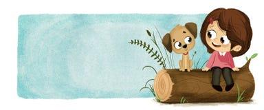 Muchacha con el perrito en parque Stock de ilustración