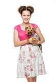 Muchacha con el perro del yorkie Imágenes de archivo libres de regalías
