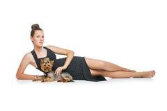 Muchacha con el perro del yorkie Foto de archivo