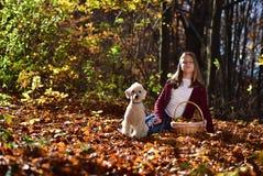 Muchacha con el perro en el parque Foto de archivo libre de regalías