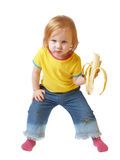 Muchacha con el plátano aislado en blanco Imagen de archivo libre de regalías