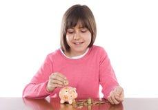 Muchacha con el rectángulo de dinero Foto de archivo libre de regalías