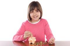 Muchacha con el rectángulo de dinero Imagen de archivo